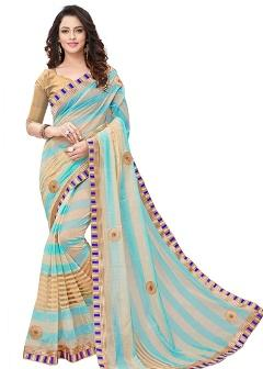 Cotton Blue Saree By Cozee Shopping