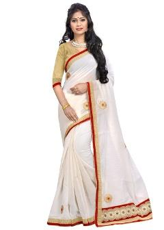 Cotton White Saree By Cozee Shopping