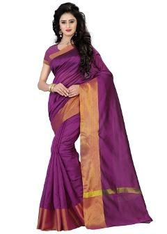Cotton Silk Purple Saree By Cozee Shopping