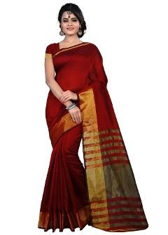 Cotton Maroon Saree By Cozee Shopping