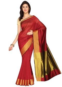 Cotton Red Saree By Cozee Shopping
