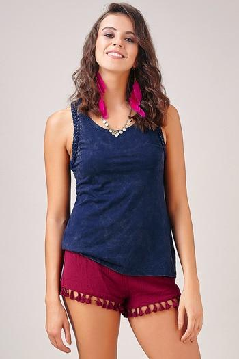 Zivame Boho Braided A-line Tank Top-Navy Blue