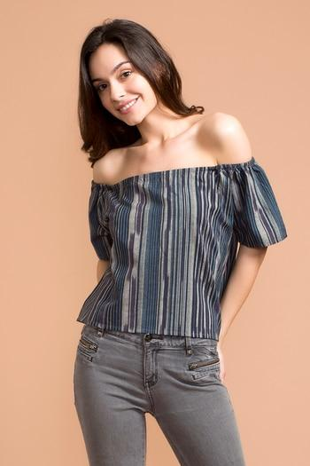 Zivame Bold Stripe Off Shoulder Top- Blue