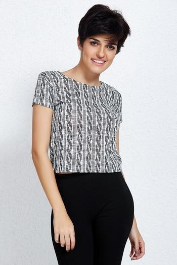 Zivame Cotton Lurex Fitted Crop Top - Grey Black