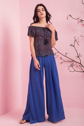 Zivame All About Roses Off Shoulder Flounce Top- Blue