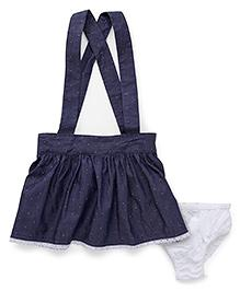 Fox Baby Skirt With Braces And Bloomer - Denim Blue Image