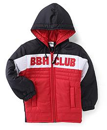 Babyhug Full Sleeves Hooded Jacket Embroidery On Chest - Red & Black