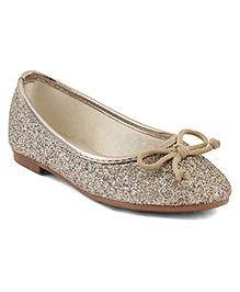 Kittens Shoes Glittery Ballerinas Bow Applique - Golden