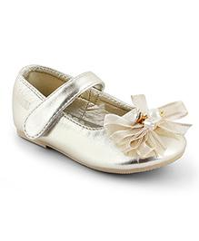 Kittens Shoes Ballerinas With Bow Applique - Gold