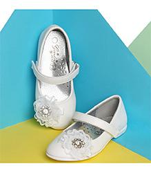 LCL By Walkinlifestyle Party Wear Mary Jane Shoes Flower Applique - White