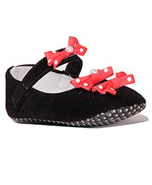Pikaboo Velvet Booties With Dotted Bow Appliques - Black Red