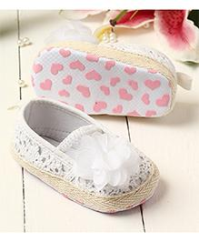 LCL By Walkinlifestyle Booties Floral Applique - White