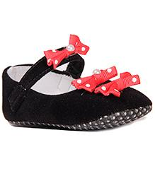 Pikaboo Velvet Booties With Polka Dots Bows And Pearl Embellished - Black Red
