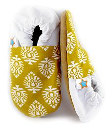 Skips Printed Slip On Jootie Booties - Yellow and White