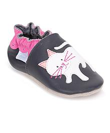 Jack & Lily Baby Shoes Cat Motif - Dark Grey