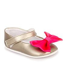 Pikaboo Booties With Bow Applique - Metallic Grey Pink