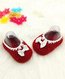 Magic Needles Baby Booties With A Bow - Red