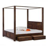 Yatak Solid Wood Poster Bed With Trolley Storage