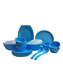 Day2Day Forever Turquoise Blue Microwave Safe Dinner Set Pack of 32