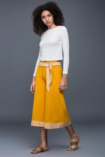 Zivame Extra Flared Fit Culotte Pant-Yellow