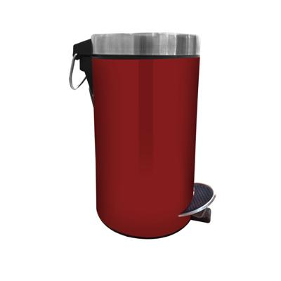 Hmsteels Stainless Steel Pedal Dustbin Plain With Red Color 24.5 X 39.5 Cm With Free Plastic Bucket Inside