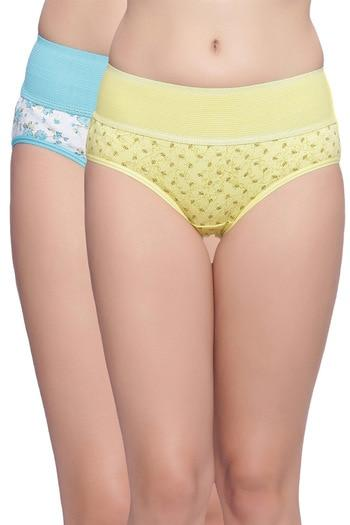 Rosaline Mid Waist Tummy Tucker Panty (Pack of 2)- Brown Blue Floral