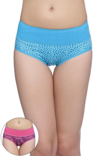 Rosaline Mid Waist Tummy Tucker Panty (Pack of 2)- Blue n Pink