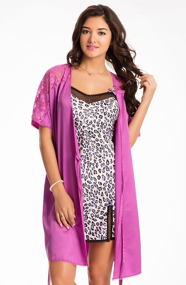 "Roaring Purple ""Midnight Spell"" Chemise & Wrap Set"