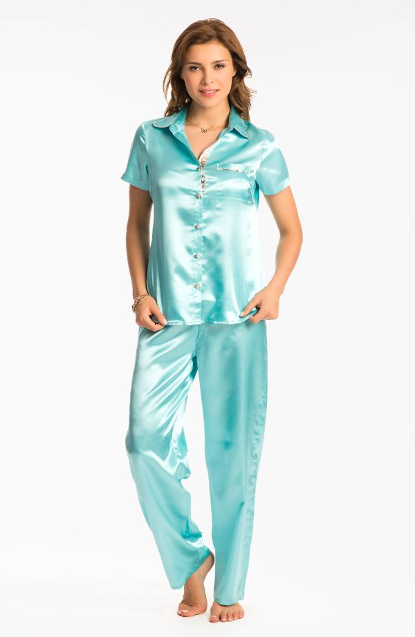 Aqua Button Front Short Sleeve Top & Pj Set