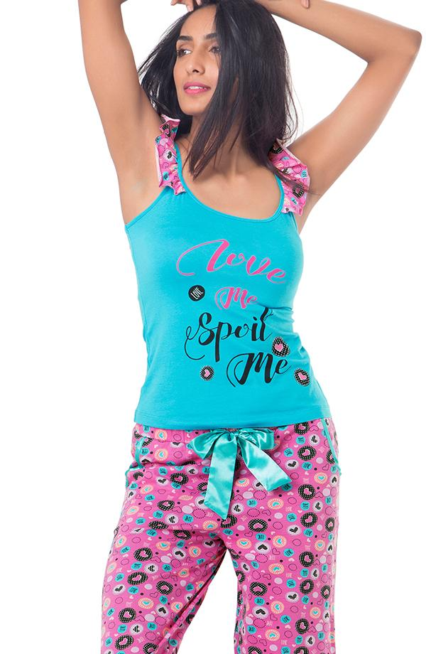 "Cotton ""Love Me Spoil Me"" Top & Pajama Set"
