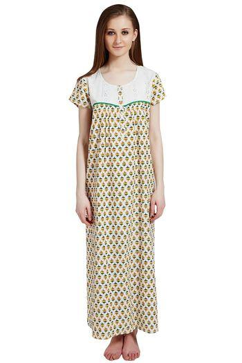 Rosaline Pure Cotton Comfort Full Length Nighty- Green Floral Print