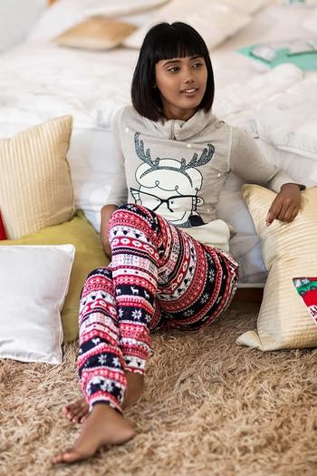Zivame Cotton CoZzzies Happy Deer Top and Pyjama- Assorted
