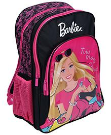 Barbie Printed Backpack Pink And Black - 18 Inches