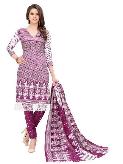 Minu Suits Purple Cotton Salwar Suits Sets Stitched Suit