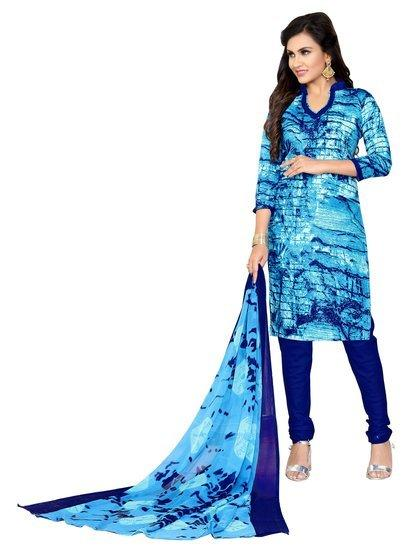 Minu Suits Light Blue Cotton Salwar Suits Sets Stitched Suit
