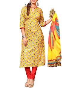 yellow salwar stitched suit