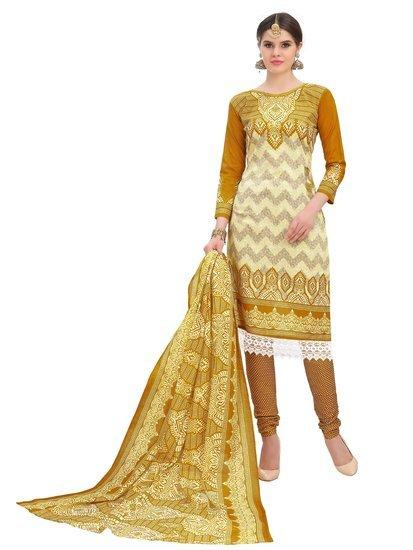 Minu Suits Yellow Cotton Salwar Suits Sets Stitched Suit