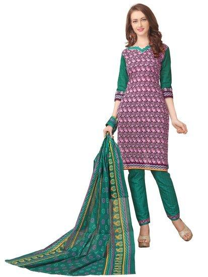 Minu Suits Pink Cotton Salwar Suits Sets Stitched Suit