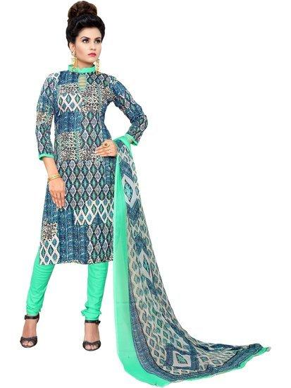 Minu Suits Navy Blue Cotton Salwar Suits Sets Stitched Suit