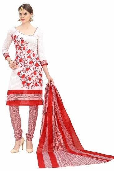Minu Suits White Cotton Salwar Suits Sets Stitched Suit