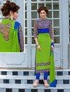 Thankar Latest Designer Green And Blue Straight Suit